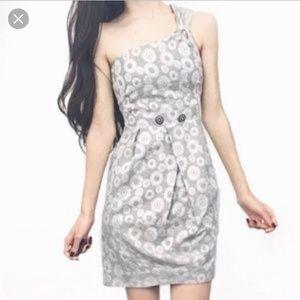 Anthropologie silver one shoulder dress. Sz 14.